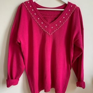 Vintage Pink Knit Sweater Beaded Pearls V Neck L hot pink/Raspberry pink